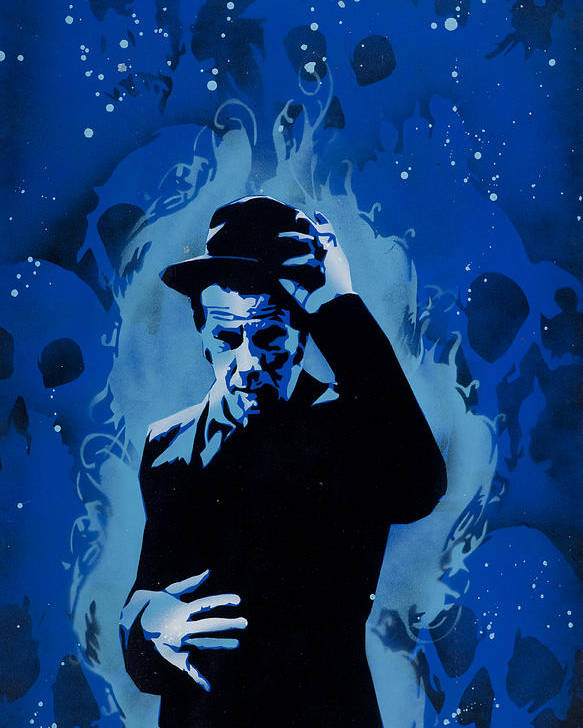 Pop Poster featuring the painting Tom Waits by Tai Taeoalii