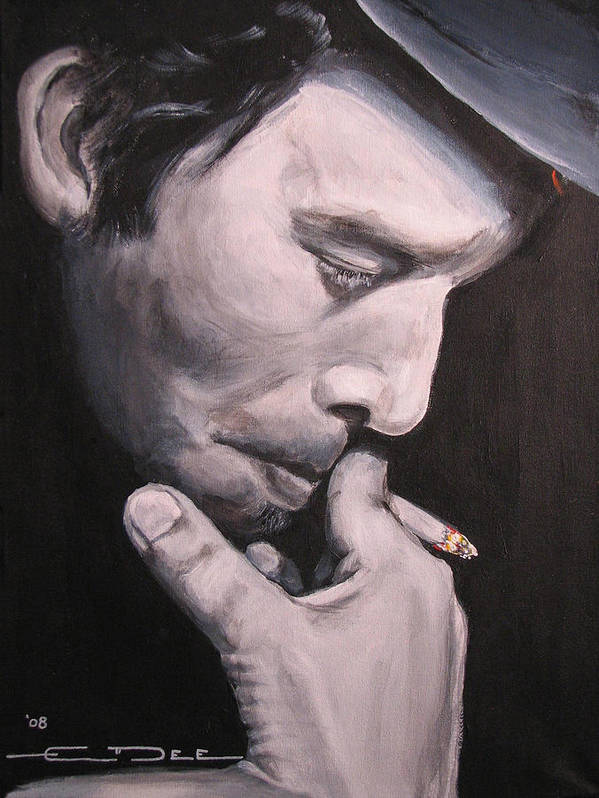 Tom Waits Poster featuring the painting Tom Waits Two by Eric Dee