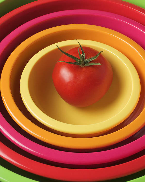 Tomato Poster featuring the photograph Tomato In Mixing Bowls by Garry Gay
