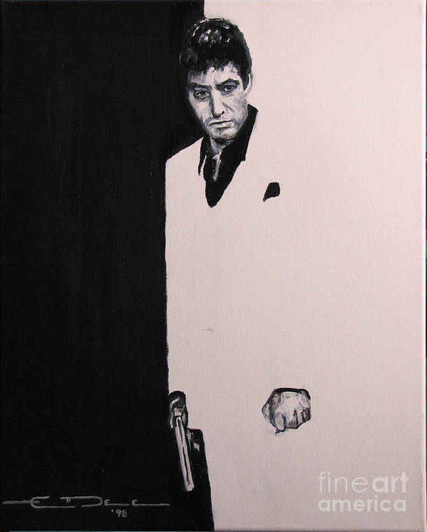 Al Pacino Poster featuring the painting Tony Montana - Scarface by Eric Dee