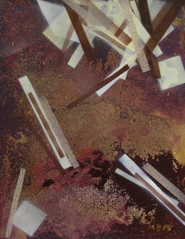 Abstract Poster featuring the painting Too Dark by Evguenia Men