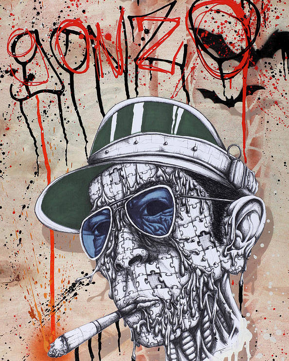 Gonzo Poster featuring the painting Too Weird To Live Too Rare To Die by Tai Taeoalii