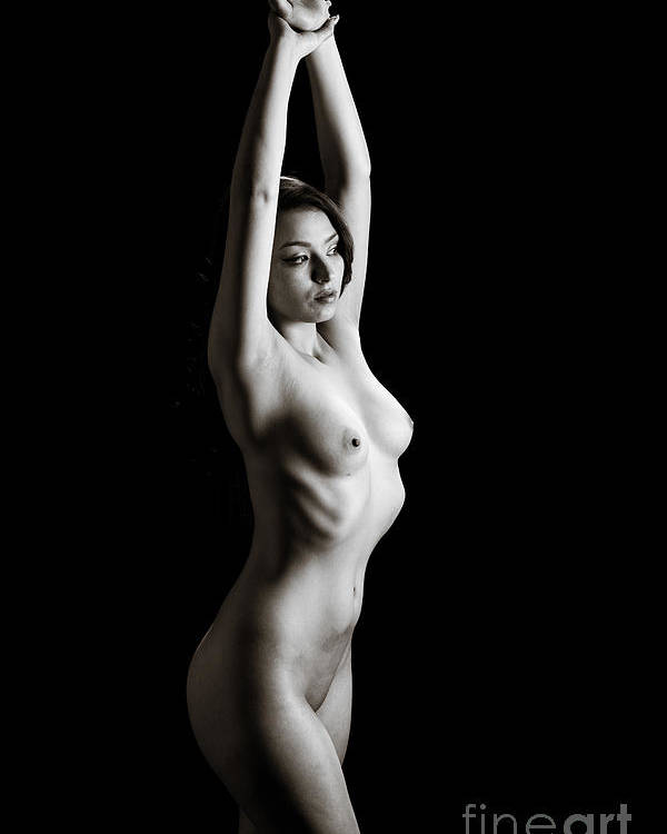 Toriwaits Poster featuring the photograph Toriwaits Nude Fine Art Print Photograph In Black And White 5120 by Kendree Miller