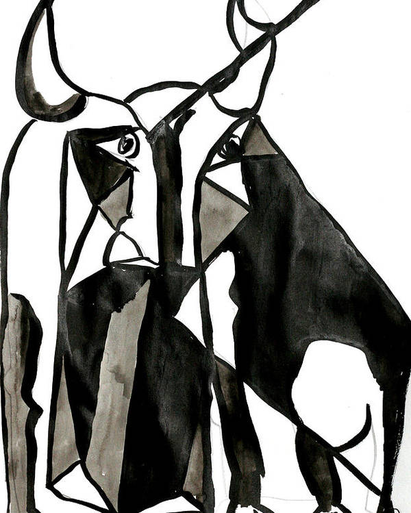 Bull Picasso Berlato Black White Abstract Poster featuring the drawing Toro by Jorge Berlato