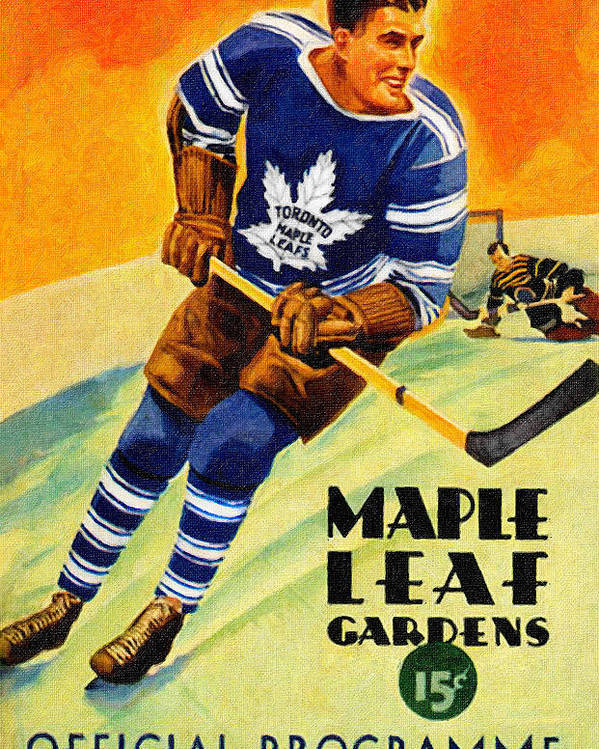355207f2092 Toronto Poster featuring the painting Toronto Maple Leafs Vintage Program  by John Farr