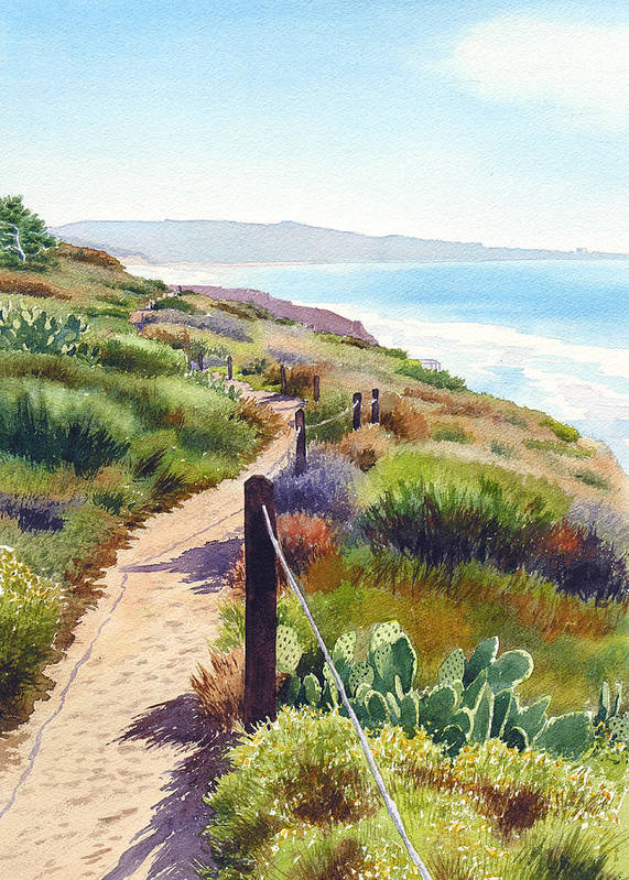 Landscape Poster featuring the painting Torrey Pines Guy Fleming Trail by Mary Helmreich