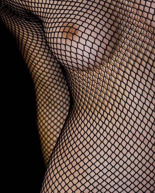 Black Poster featuring the photograph Torso In Fish-net by Gabor Pozsgai
