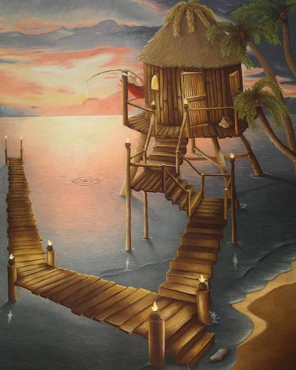Tiki Poster featuring the pastel Tortugan Riviera by Amanda Clark