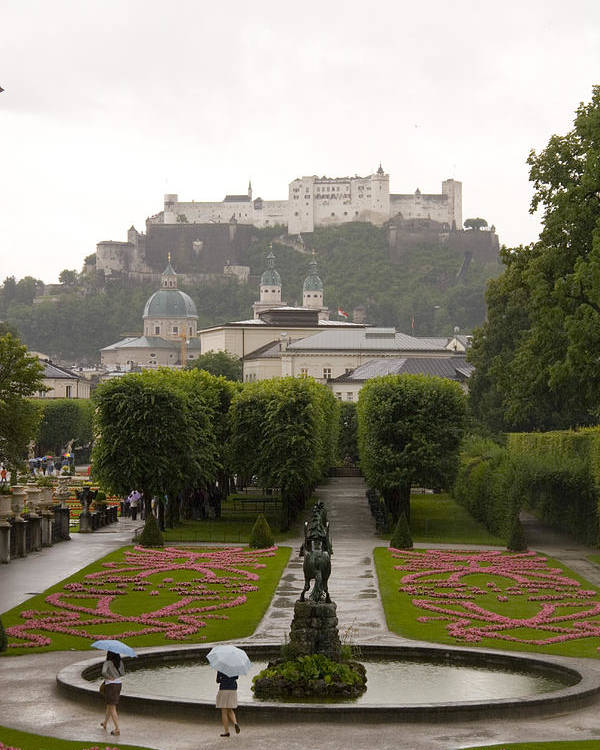 Salzburg Poster featuring the photograph Tourists Enjoy A Rainy Day by Taylor S. Kennedy
