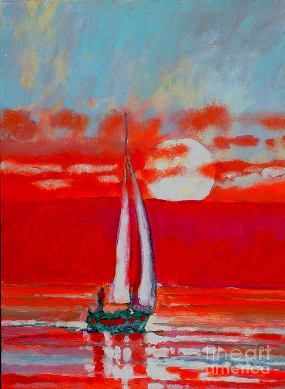 Sailing Poster featuring the painting Toward Sunset I by Kip Decker