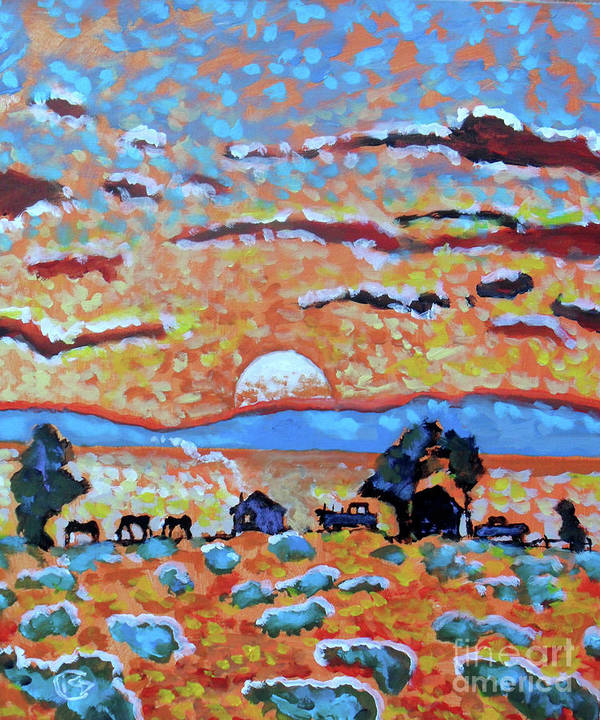 Toward Sunset Is A Smaller Painting Of The Sun Setting Over A Small Western Ranch. Poster featuring the painting Toward Sunset by Kip Decker