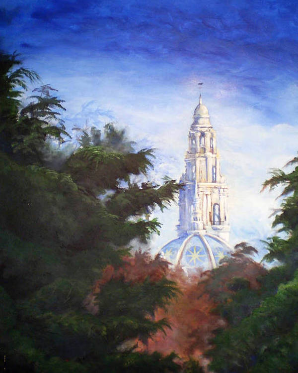 Balboa Park Poster featuring the painting Tower Over The Grove II by Duke Windsor