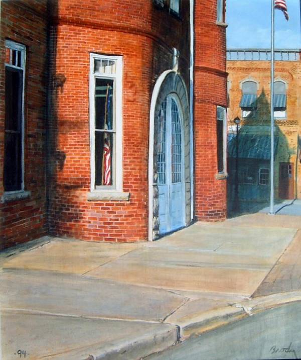 Realistic Poster featuring the painting Town Hall by William Brody