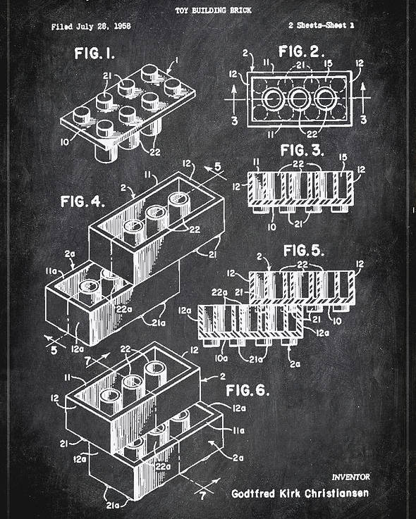 Patent Poster featuring the mixed media Toy Building Brick Patent Drawing 1b by Brian Reaves
