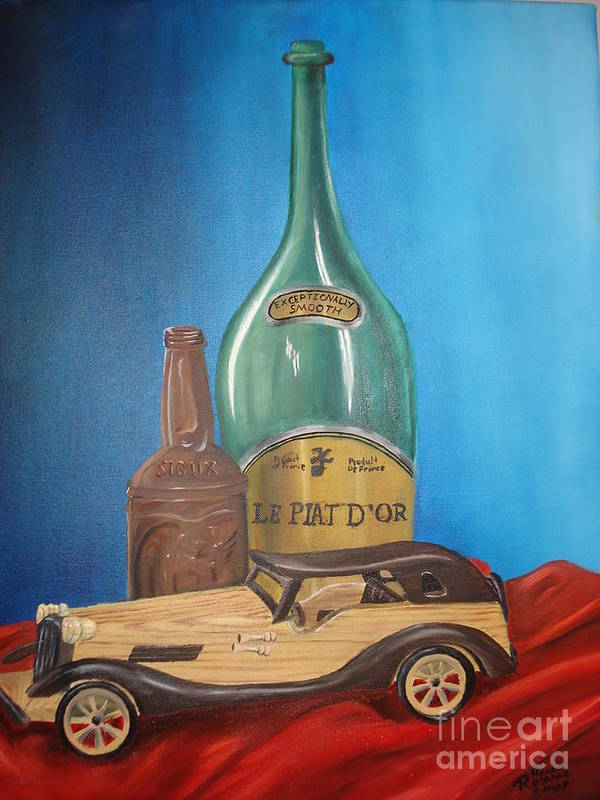 Old Car Green Bottle Alchohol Wood Red Cloth Beer Collectable Table Top Cool Toy Whine Smooth Poster featuring the painting Toy Car And Bottles by Rosanna Hardin