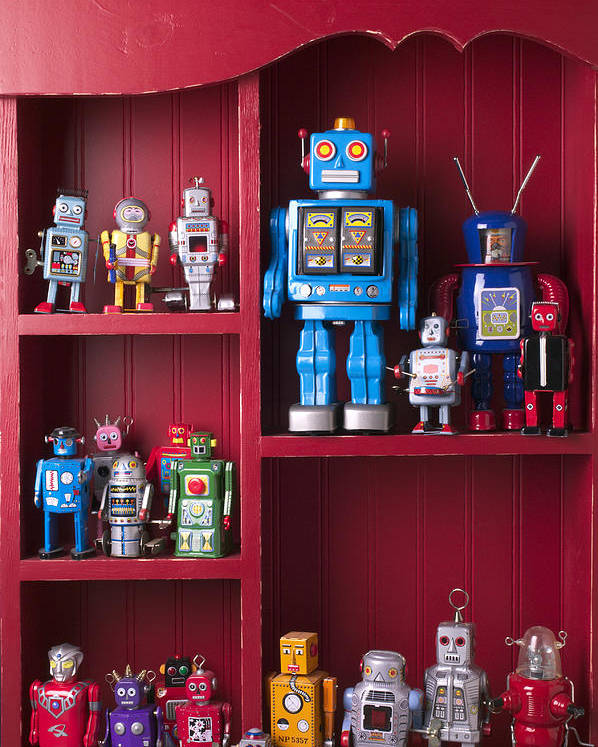 Toy Poster featuring the photograph Toy Robots On Shelf by Garry Gay