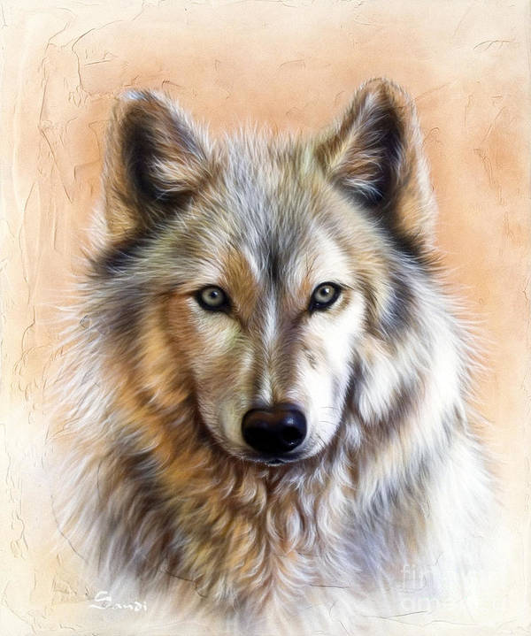 Wolves Poster featuring the painting Trace Two by Sandi Baker
