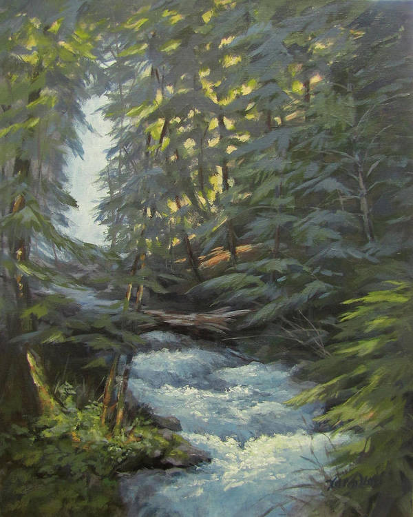 Waterfall Poster featuring the painting Trail To The Falls by Karen Ilari
