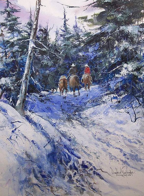 Mountain Poster featuring the painting Trail To Winter Camp by Douglas Trowbridge