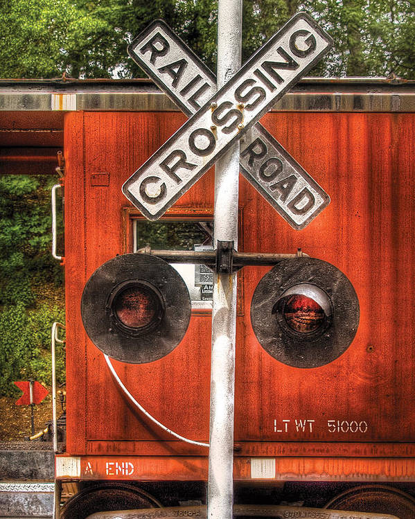 Savad Poster featuring the photograph Train - Yard - Railroad Crossing by Mike Savad