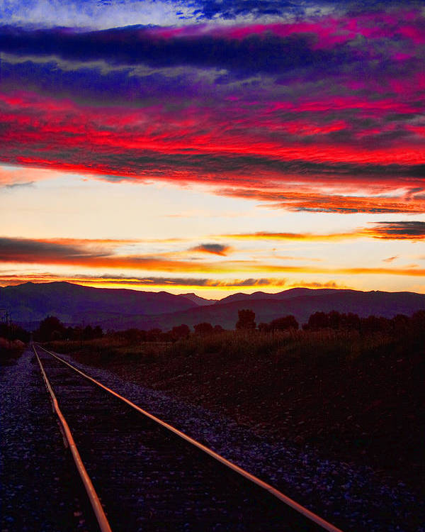 Train Tracks Poster featuring the photograph Train Track Sunset by James BO Insogna