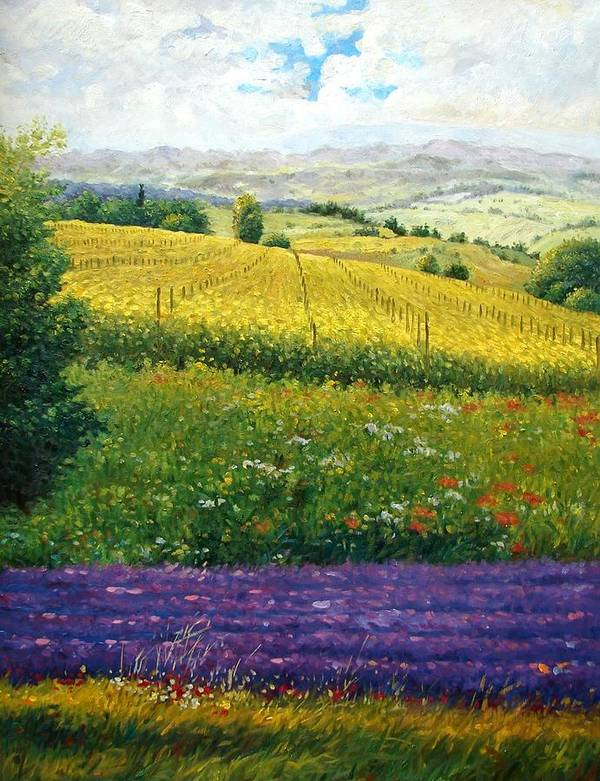 Lavender Poster featuring the painting Tranquility by Aziz Mohammed
