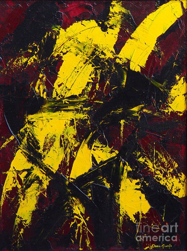 Abstract Poster featuring the painting Transitions With Yelllow And Black by Dean Triolo