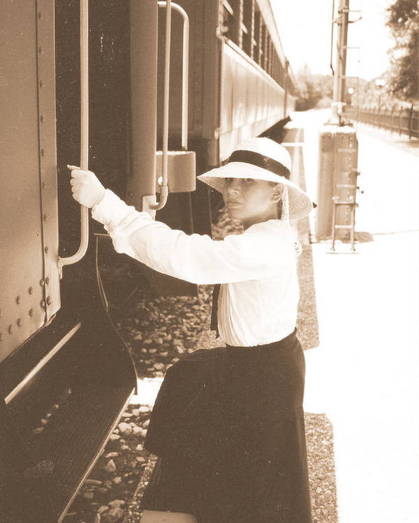Snood Poster featuring the photograph Traveling By Train - Sepia by Cindy New