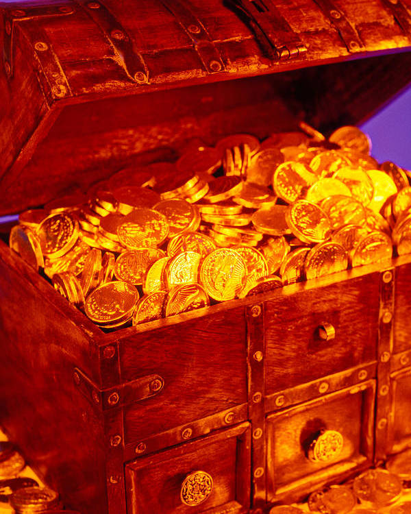 Treasure Chest Gold Coins Pirates Poster featuring the photograph Treasure Chest With Gold Coins by Garry Gay
