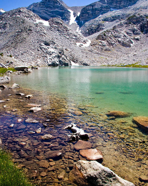 Sierra Mountains Poster featuring the photograph Treasure Lake 3 Rocky Shoreline by Chris Brannen