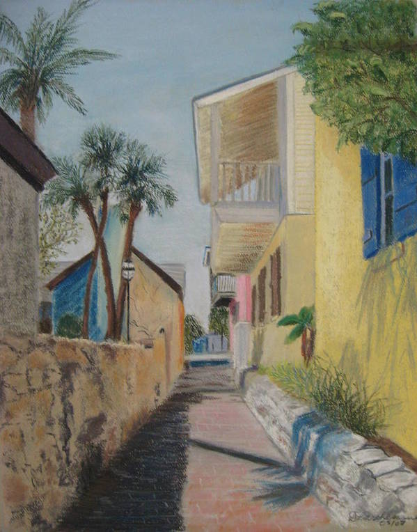 Florida Poster featuring the pastel Treasury Street St Augustine by Diane Larcheveque