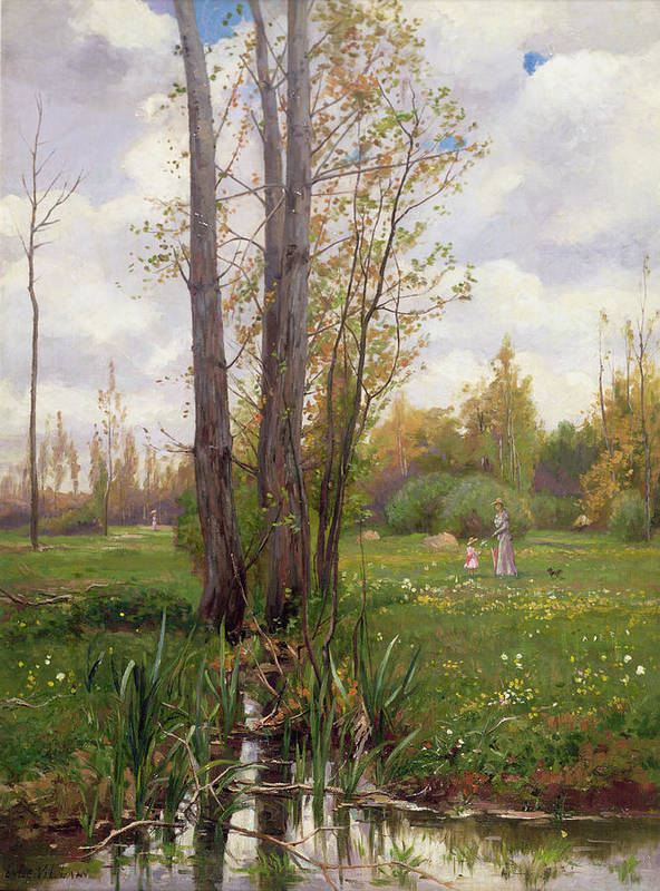 Tree Poster featuring the painting Tree Beside Water by Ernest Le Villain