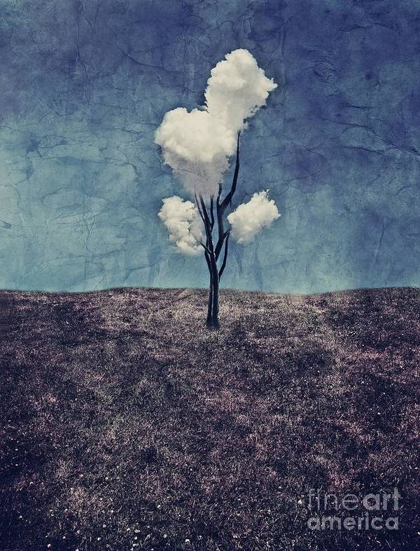 Tree Poster featuring the digital art Tree Clouds 01d2 by Aimelle