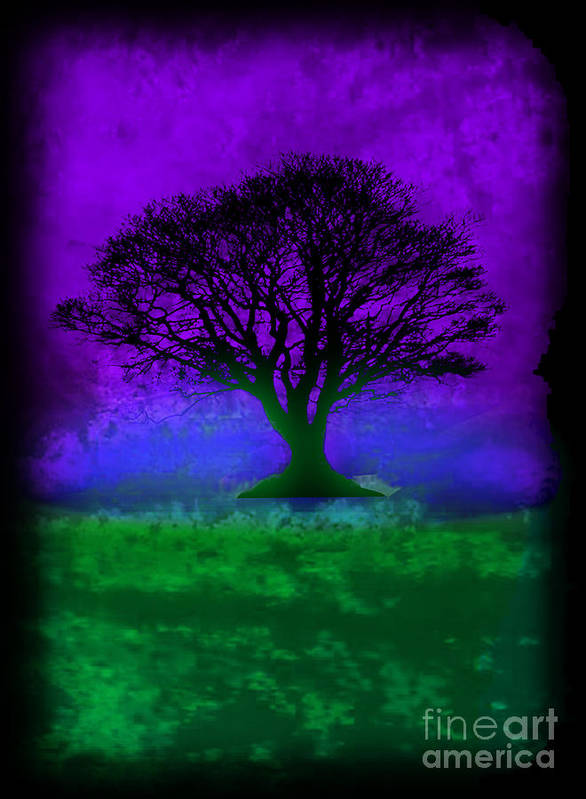 Original Poster featuring the painting Tree Of Life - Purple Sky by Robert R Splashy Art