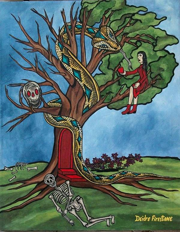 Tree Of Life Poster featuring the painting Tree Of Life Temptation And Death by Deidre Firestone