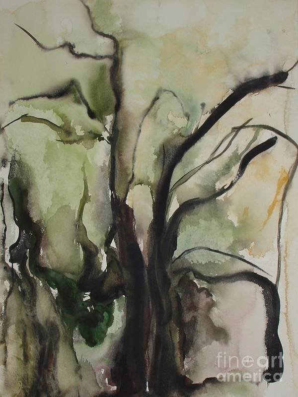 Tree Winter Abstract Original Painting Landscape Leila Atkinson Watercolor Wet On Wet Washes Trees Poster featuring the painting Tree Series V by Leila Atkinson