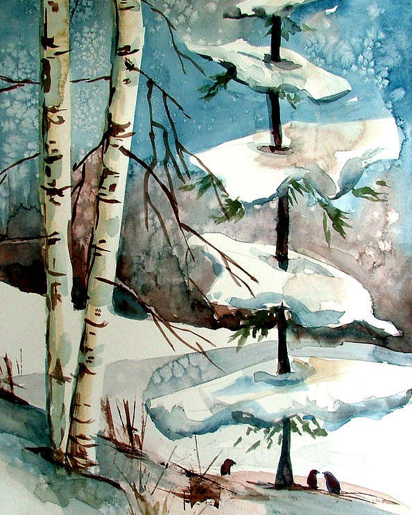 Winter Poster featuring the painting Tree Talkers by Mindy Newman