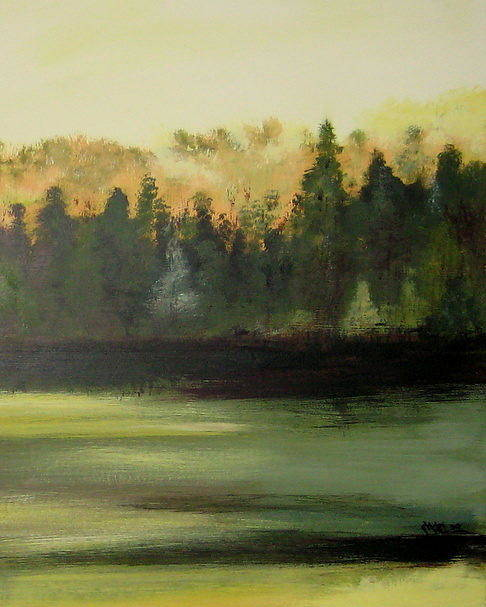 Landscapes Poster featuring the painting Trees In The Mist by Marcia Crispino