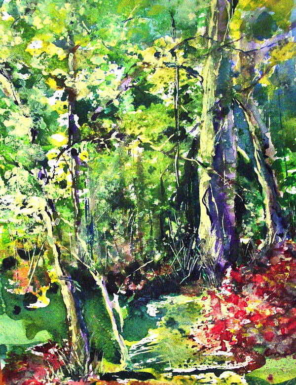 Trees Poster featuring the painting Trees by Robin Miller-Bookhout