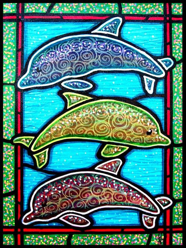Fish Poster featuring the painting Tres Dolphins by Jim Harris