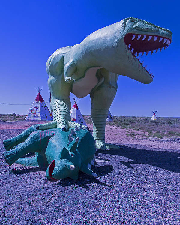 Roadside Dinosaur Poster featuring the photograph Trex And Triceratops by Garry Gay