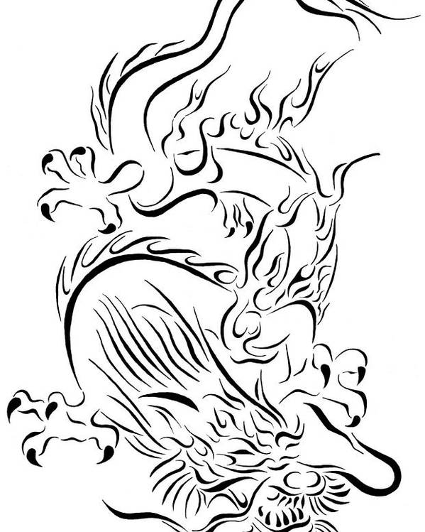 75b53370d Tribal Poster featuring the drawing Tribal Chinese Dragon by Tina Barnash