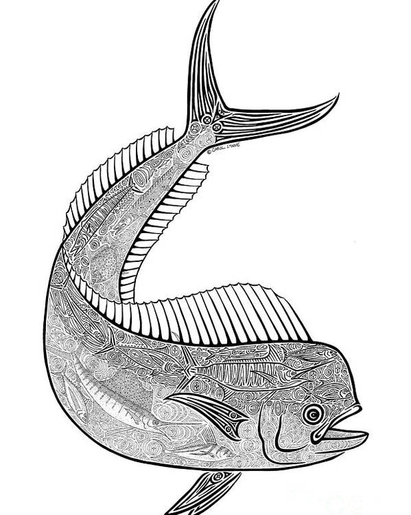 Fish Poster featuring the drawing Tribal Mahi by Carol Lynne