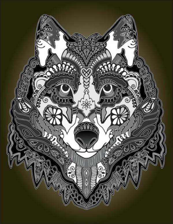 Art Poster featuring the digital art Tribal Wolf by Brian Swanke