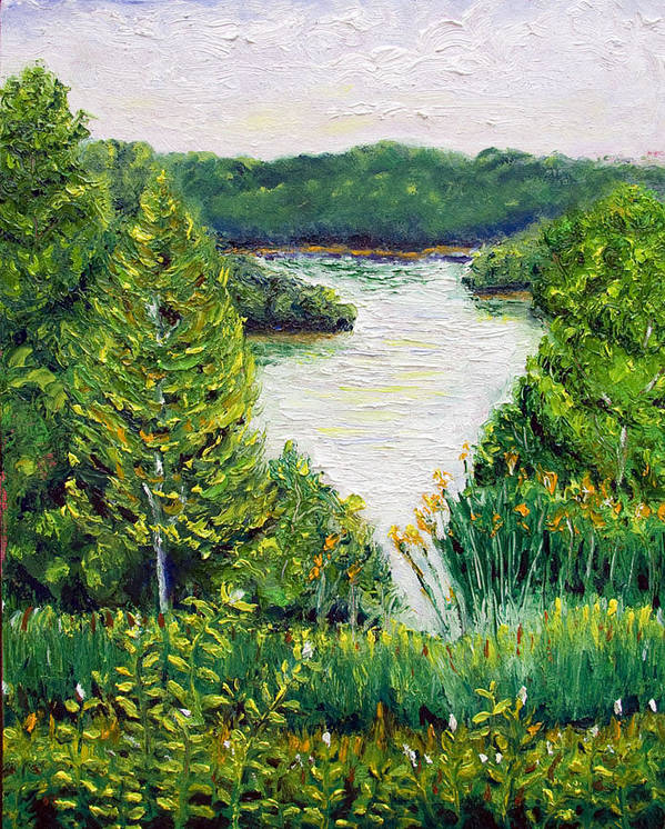 Lake Poster featuring the painting Tributary Salt Fork Lake Ohio by Robert Sako