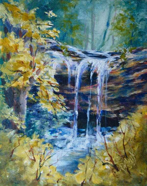 Landscape Poster featuring the painting Trickles From Heaven II by Donna Pierce-Clark