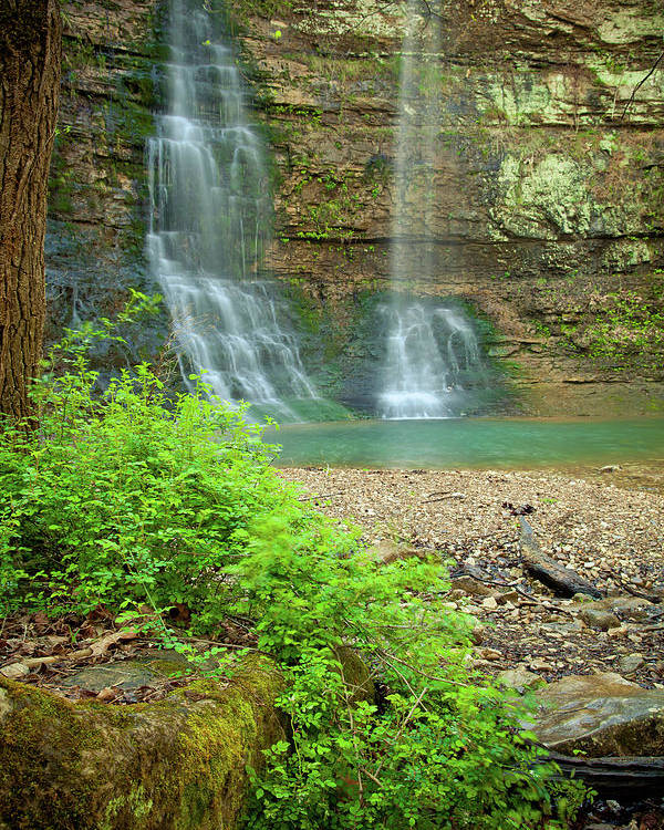 Landscape Poster featuring the photograph Tripple Falls In Springtime by Iris Greenwell