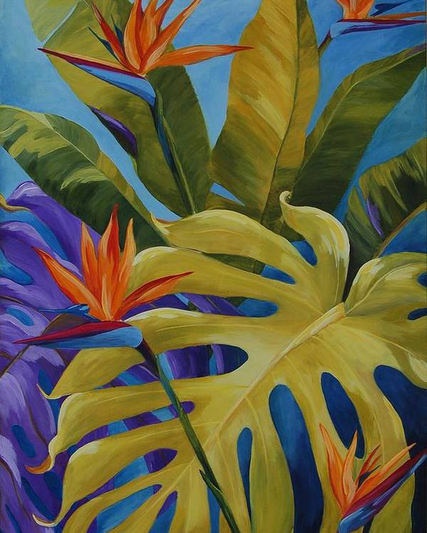 Bird Of Paradise Poster featuring the painting Tropical Birds by Karen Dukes