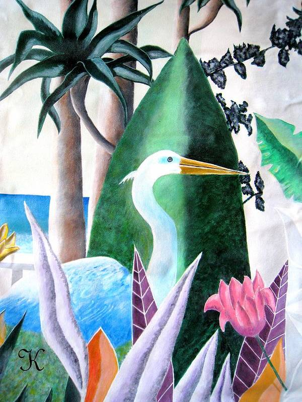 Plants Flowers Goose Poster featuring the painting Tropical Goose by Roger Golden