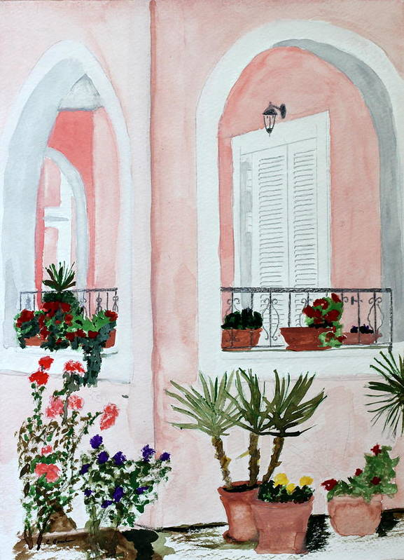 Home Tropical Island Southern Shutters Porch Plants Palms Flowers Poster featuring the painting Tropical Home by Cathy Jourdan